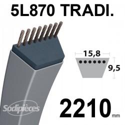 Courroie 5L870 Traditionnelle Trapézoïdale. 15,8 mm x 2210 mm.