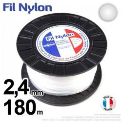 Fil débroussailleuse nylon rond. 2,4 mm x 180 m. Bobine. Blanc