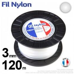 Fil débroussailleuse nylon rond. 3 mm x 120 m. Bobine. Blanc