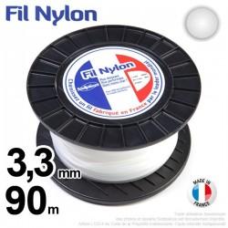 Fil débroussailleuse nylon rond. 3,3 mm x 90 m. Bobine. Blanc