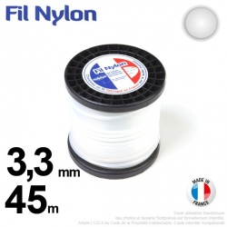 Fil débroussailleuse nylon Rond. 3,3 mm x 45 m. Bobine. Blanc