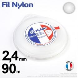 Fil débroussailleuse nylon Rond. 2,4 mm x 90 m. Coque. Blanc