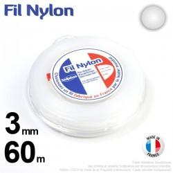 Fil débroussailleuse nylon Rond. 3 mm x 60 m. Coque. Blanc