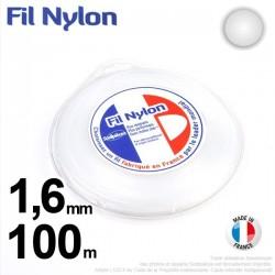 Fil débroussailleuse nylon Rond. 1,6 mm x 100 m. Coque. Blanc