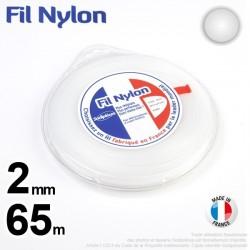Fil débroussailleuse nylon Rond. 2 mm x 65 m. Coque. Blanc