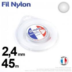 Fil débroussailleuse nylon Rond. 2,4 mm x 45 m. Coque. Blanc