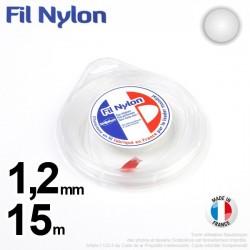 Fil débroussailleuse nylon Rond. 1,2 mm x 15 m. Coque. Blanc