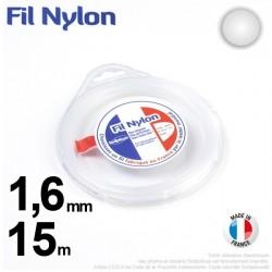 Fil débroussailleuse nylon Rond. 1,6 mm x 15 m. Coque. Blanc