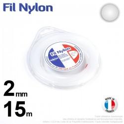 Fil débroussailleuse nylon Rond. 2 mm x 15 m. Coque. Blanc