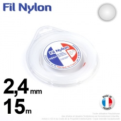 Fil débroussailleuse nylon Rond. 2,4 mm x 15 m. Coque. Blanc