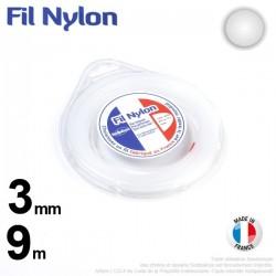 Fil débroussailleuse nylon Rond. 3 mm x 9 m. Coque. Blanc