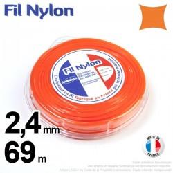 Fil débroussailleuse nylon carré. 2,4 mm x 69 m. Coque. Orange