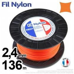 Fil débroussailleuse nylon carré. 2,4 mm x 136 m. Bobine. Orange