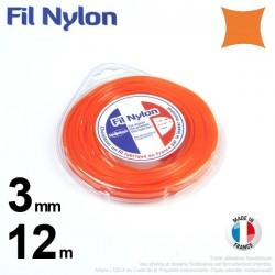 Fil débroussailleuse nylon carré. 3 mm x 12 m. Coque. Orange