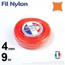 Fil débroussailleuse nylon carré. 4 mm x 9 m. Coque. Orange