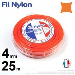 Fil débroussailleuse nylon carré. 4 mm x 25 m. Coque. Orange