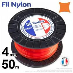 Fil débroussailleuse nylon carré. 4 mm x 50 m. Bobine. Orange