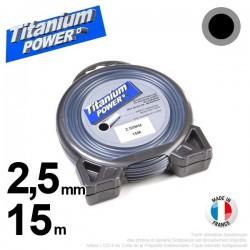 Fil débroussailleuse Titanium ®. Coque rond 2.5 mm x 15 m