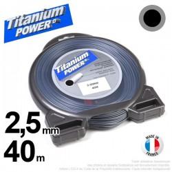 Fil débroussailleuse Titanium ®. Coque rond 2.5 mm x 40 m