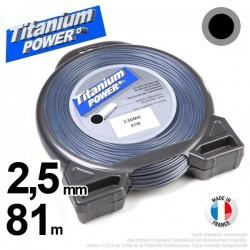 Fil débroussailleuse Titanium ®. Coque rond 2.5 mm x 81m