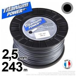 Fil débroussailleuse Titanium ®. Bobine rond 2.5 mm x 243 m