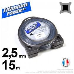 Fil débroussailleuse Titanium ®. Carré. Coque : 2.5 mm x 15 m