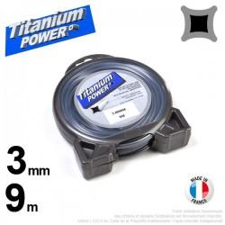 Fil débroussailleuse Titanium ®. Carré. Coque : 3 mm x 9 m