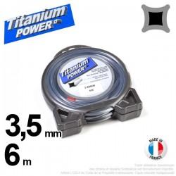 Fil débroussailleuse Titanium ®. Carré. Coque : 3.5 mm x 6 m