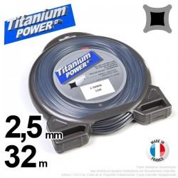 Fil débroussailleuse Titanium ®. Carré. Coque : 2,5 mm x 32 m