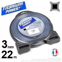 Fil débroussailleuse Titanium ®. Carré. Coque : 3 mm x 22 m