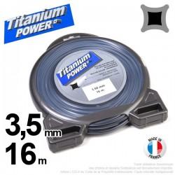Fil débroussailleuse Titanium ®. Carré. Coque : 3.5 mm x 16 m