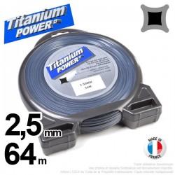 Fil débroussailleuse Titanium ®. Carré. Coque : 2,5 mm x 64 m