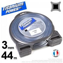 Fil débroussailleuse Titanium ®. Carré. Coque : 3 mm x 44 m