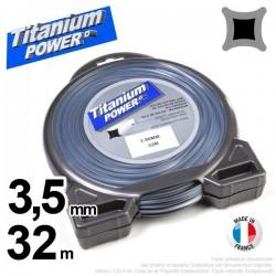 Fil débroussailleuse Titanium ®. Carré. Coque : 3.5 mm x 32 m