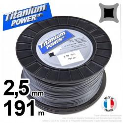 Fil débroussailleuse Titanium ®. Carré. Bobine : 2.5 mm x 191 m