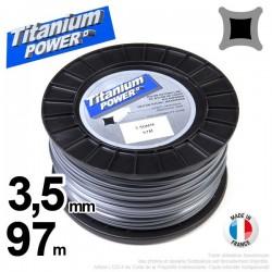 Fil débroussailleuse Titanium ®. Carré. Bobine : 3,5 mm x  97m