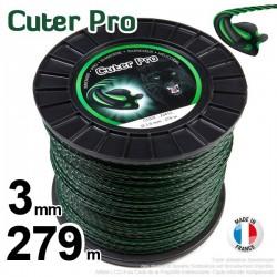 Fil débroussailleuse Cuter' Pro ®. Bobine 3 mm x 279 m. Hélicoïdal.
