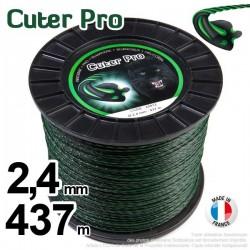 Fil débroussailleuse Cuter' Pro ®. Bobine 2,4 mm x 437 m. Hélicoïdal.