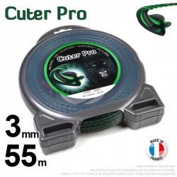 Fil débroussailleuse Cuter' Pro ®. Coque 3 mm x 55 m. Hélicoïdal.