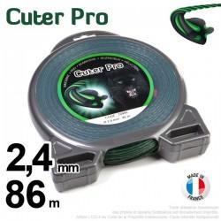 Fil débroussailleuse Cuter' Pro ®. Coque 2,4 mm x 86 m. Hélicoïdal.