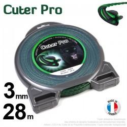Fil débroussailleuse Cuter' Pro ®. Coque 3 mm x 28 m. Hélicoïdal.