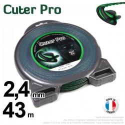 Fil débroussailleuse Cuter' Pro ®. Coque 2,4 mm x 43 m. Hélicoïdal.