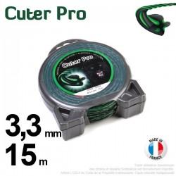 Fil débroussailleuse Cuter' Pro ®. Coque 3,3 mm x 15 m. Hélicoïdal.