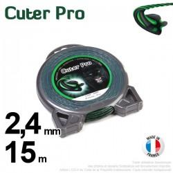Fil débroussailleuse Cuter' Pro ®. Coque 2,4 mm x 15 m. Hélicoidal