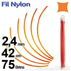 Fil débroussailleuse nylon carré. 2,4 mm x 42 cm. Lot de 75 brins. Orange