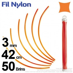 Fil débroussailleuse nylon carré. 3 mm x 42 cm. Lot de 50 brins. Orange