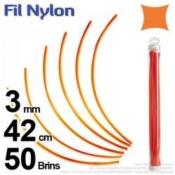 Fil débroussailleuse nylon carré. 3 mm x 42 cm. Lot de 50 brins. Orange