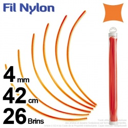 Fil débroussailleuse nylon carré. 4 mm x 42 cm. Lot de 26 brins. Orange