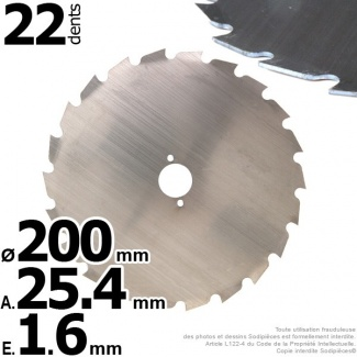Lame 22 dents à gouges Ø 200 mm. Al 25,4 mm. Ep 1,6 mm