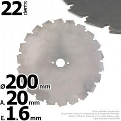Lame 22 dents à gouges dentées Ø 200 mm. Al 20 mm. Ep 1,6 mm